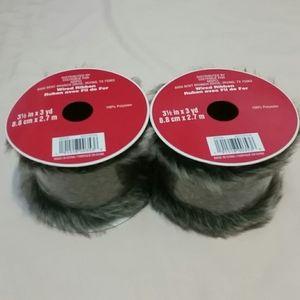 """2 Spools """"Cat Fur"""" Wired Ribbon"""